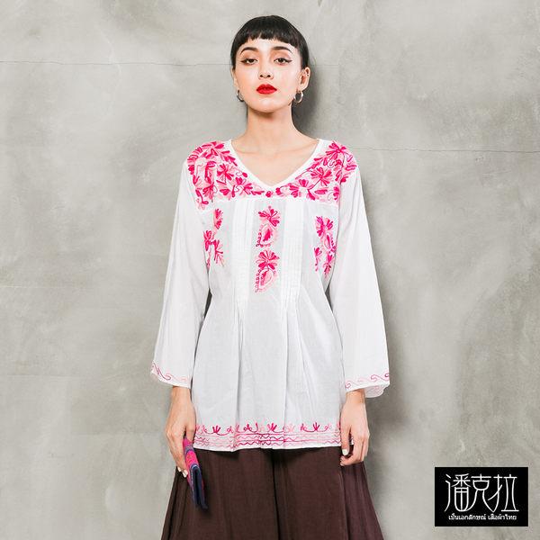 手繡花卉七分袖上衣(白色)-F-潘克拉