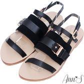 Ann'S微文青-異材質結合層次扣帶涼鞋-黑