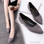 春夏淺口鞋尖頭女鞋平底粗跟單鞋低跟平跟黑色工作鞋瓢鞋 可可鞋櫃