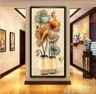 入戶玄關裝飾畫豎版過道走廊牆面畫現代簡約招財風水壁畫客廳掛畫QM 依凡卡時尚