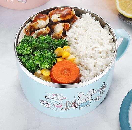 泡麵碗韓式304不銹鋼兒童飯碗卡通泡面碗小學生防燙帶手柄保溫飯盒