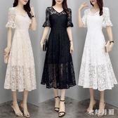 蕾絲連身裙 夏裝韓版女裝顯瘦遮肚長裙仙女V領短袖洋裝裙 EY6590 【衣好月圓】