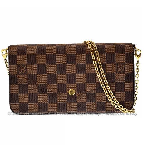 Louis Vuitton LV N63032 Pochette Félicie 棋盤格紋鍊條斜背小提包 全新 預購