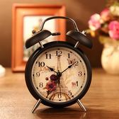 學生創意床頭時尚簡約靜音鬧鐘鬧錶台鐘金屬小鬧鈴帶夜燈鈴聲很響 麻吉部落