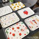 愛家居心選 黃梨草莓水果密胺盤ins星星長方形托盤茶盤水杯收納盤 『新佰數位屋』