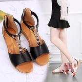 大尺碼涼鞋 軟底羅馬鞋女涼鞋仙女風包跟后拉鏈平底鞋夏季波西米亞大碼沙灘鞋 OB6861