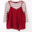 【MASTINA】兩件式喜氣紅條紋長袖-紅