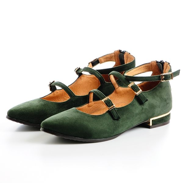 GREEN PINE 多帶後拉鍊低跟瑪莉珍鞋 -綠色