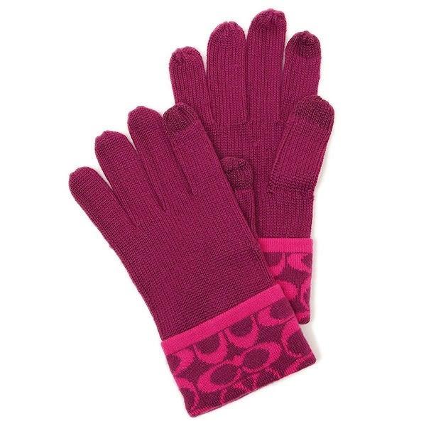 米非客 COACH 86026 經典 C logo設計 手指可觸碰螢幕 混羊毛材質 超保暖 手套(紫紅)