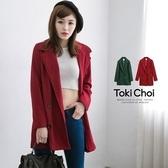 東京著衣-tokichoi-素面雙排釦毛料大衣外套(4030391)