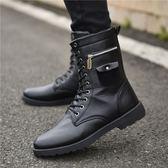 售完即止-馬丁鞋正韓馬丁靴軍靴潮流韓版男士皮靴工裝高筒黑色男靴子11-7(庫存清出T)