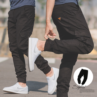 長褲 三角皮標側口袋黑色工作褲縮口褲【N9812J】