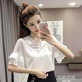 2020夏季新款女裝韓版網紗拼接荷葉袖V領上衣淑女氣質短袖雪紡衫  【韓語空間】