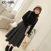 中大尺碼  排釦格紋吊帶裙 - 適XL~4L《 67152H 》CC-GIRL
