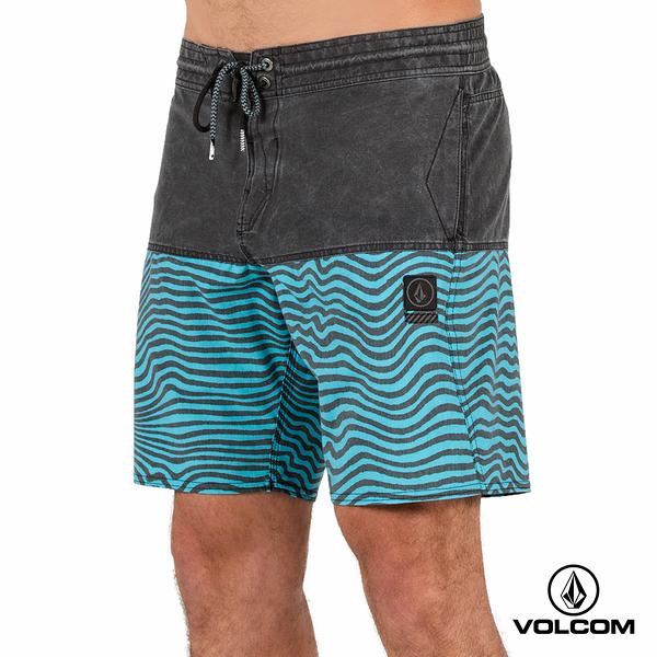 VOLCOM STONEY 拼接海灘褲-水洗黑x水藍Mag Vibes條紋