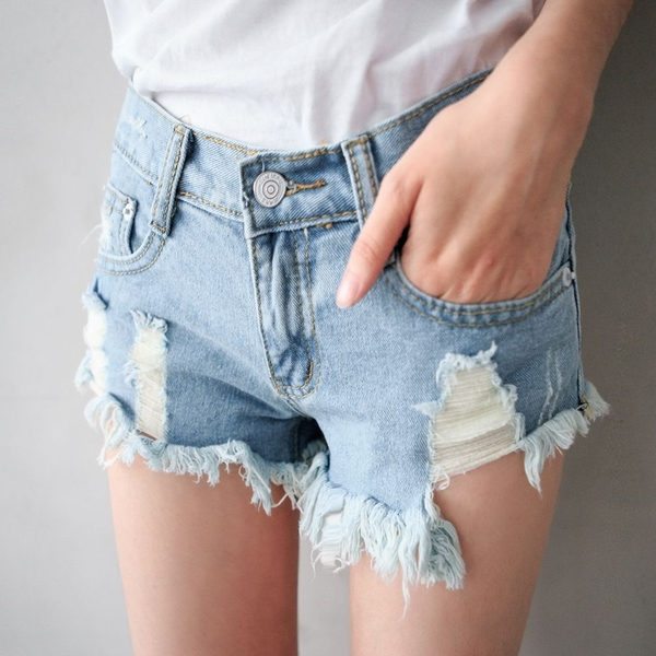 MIUSTAR 個性大抽鬚丹寧短褲(共1色,S-L)【NJ1543EP】預購