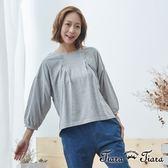 【Tiara Tiara】百貨同步 背蝴蝶結壓摺紋單色長袖上衣(藍/灰)