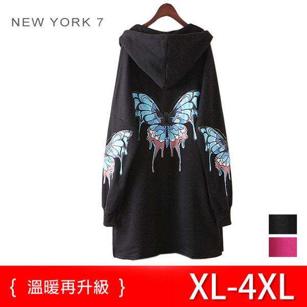 大尺碼 長版保暖蝴蝶染印帽T 2色 XL~4XL【紐約七號】LG-291