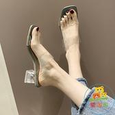 拖鞋女外穿時尚韓版百搭平底粗跟涼拖鞋海邊一字拖潮【樂淘淘】