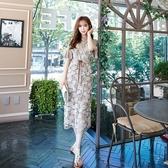 吊帶裙(套裝)-短袖鏤空鈎花荷葉袖圓領女背帶裙73nj65【巴黎精品】