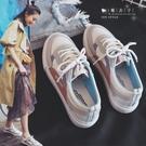 【QV8994】魔衣子-百搭織布皮拼接休...