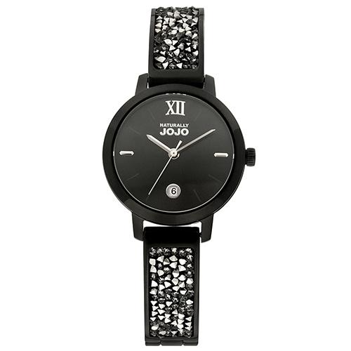 NATURALLY JOJO 晶鑽 手環 女錶 (JO96942-88F) 黑殼/30mm