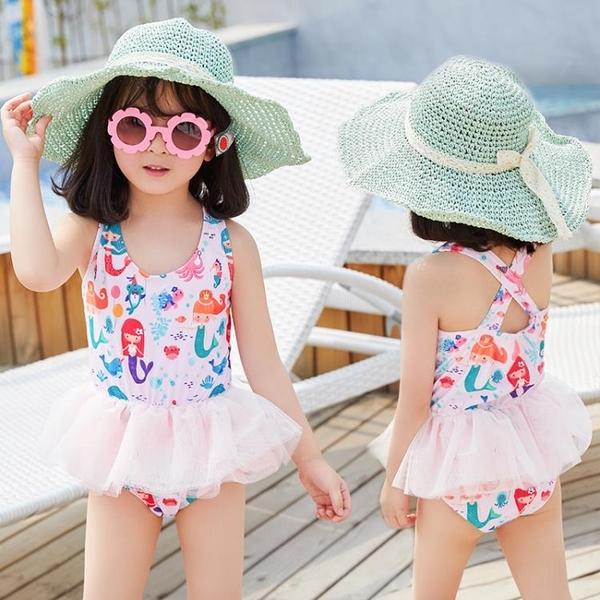 儿童泳衣 ins兒童泳衣女童可愛卡通連體芭蕾小公主裙式游泳衣寶寶小童泳裝 星河光年