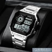 手錶手錶男小方塊錶中學生男錶潮流黑科技十大名牌卡家方形電子 快速出貨