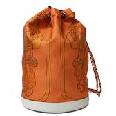 稀有款!HERMES 橘色馬轡印花絲巾布肩背後背水手包水桶包(九成新)