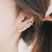 925 銀不對稱摩登水鑽耳環Enya 恩雅正韓飾品~EASS707 ~