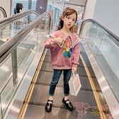 女童衛衣秋裝韓版中大童長袖寬鬆上衣【聚可愛】