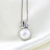 純銀項鍊 珍珠-生日情人節禮物閃亮鑲鑽流行女925純銀墜子73w90【巴黎精品】