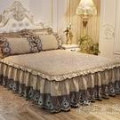 歐式夾棉加厚床裙蕾絲床罩單件1.8米1.5天鵝絨保暖席夢思防滑墊套 小時光生活館