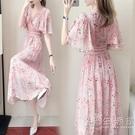 海邊度假洋裝女夏2021年新款氣質改良旗袍長款碎花粉色雪紡裙子 小時光生活館