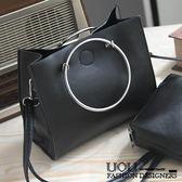 *UOU精品*韓國時尚款 包包圓環手提包單肩包休閒子母包小包包(附斜背帶)/2色/T506