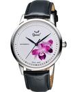 Ogival 愛其華 花繪經典彩繪機械腕錶-蘭花版 1929-24.2AGS皮