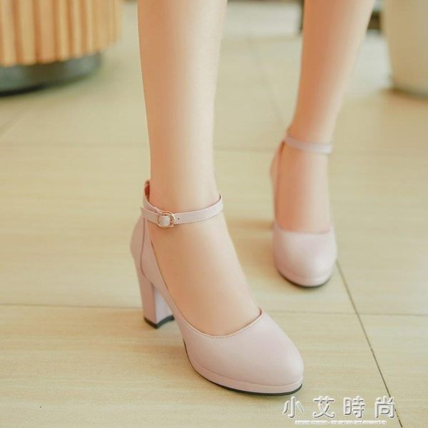 高跟鞋粗跟少女圓頭防水台小清新單鞋 小艾時尚