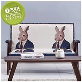 沙發【YUDA】格林童話 兔子先生 實木 麻布 雙人 二人 布沙發 J0F 672-2
