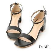 涼鞋 D+AF 完美夏日.一字繫踝方頭低跟涼鞋*黑