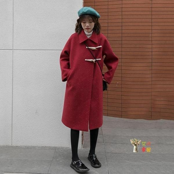 牛角釦大衣 冬季外套牛角釦紅色大衣女韓版中長款加厚冬季外套T