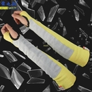 防切割300度耐高溫護臂阻燃芳綸護腕金屬玻璃套袖隔熱貼牛皮護臂 快速出貨