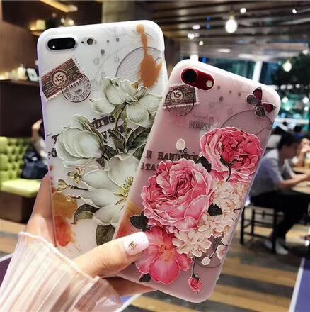 【SZ13】iPhone7plus手機殼 小清新玫瑰花 浮雕磨砂軟殼 iPhone6/6s plus手機殼