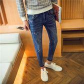 男裝牛仔長褲秋新款時尚修身小腳褲男士牛仔 麥吉良品