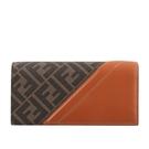 【FENDI】FF Monogram帆布拼皮革二折長夾(咖啡色/紅棕色) 7M0264 AFB4 F1DZA