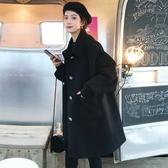 毛呢外套 韓系秋冬氣質寬鬆百搭中長款大衣 花漾小姐【預購】