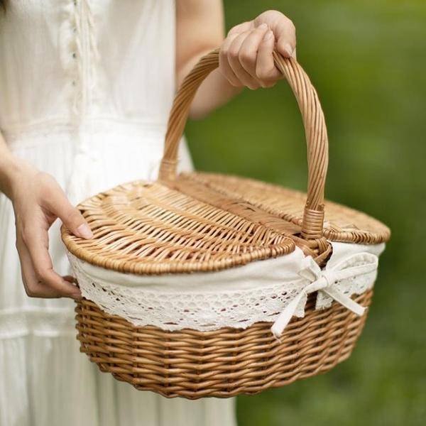 柳編野餐籃手提籃收納筐