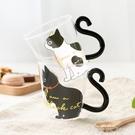 貓爪杯 云木雜貨 創意可愛貓咪透明玻璃杯尾巴手柄個性耐熱可微波貓爪杯 韓菲兒