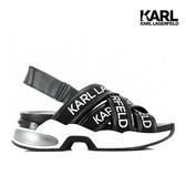 【KARL LAGERFELD】VENTURA LOGO多重交叉涼鞋-黑