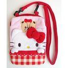 凱蒂貓 斜背包 手機包 棉質 可愛 Kitty 日本正版 該該貝比日本精品 ☆