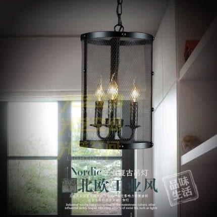 設計師美術精品館美式仿古單頭鐵藝黑色鐵網吊燈北歐複古簡約創意客廳燈樓梯三頭燈